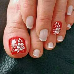 Toenail Art Designs, French Nail Designs, Pretty Toe Nails, Cute Toe Nails, Toe Nail Color, Toe Nail Art, Blue Acrylic Nails, Red Nails, Flower Toe Nails