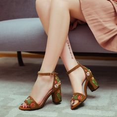 Women's Style Sandal Shoes Summer Bucket List Ideas Suede Ankle Strap Sandals Brown Floral Block Heels For School Cute Outfits For Girls Spring Dresses Shoes Street Style Outfits 2018 Flora Chunky Heels Ankle Strap Sandals Flora Dresses Shoes, Date   FSJ