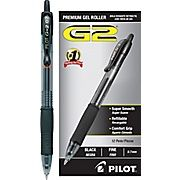 Pilot G-2 Retractable Gel-Ink Pens, Fine-Point, Black, Dozen, packs feature a gel-ink formula that resists running and is smear proof once dry.