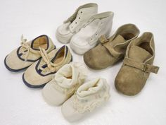 4 Pair Lot Vintage Baby Shoes Mixed Sizes 2-4 Suede Booties Canvas Sneakers