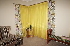 Bright yellow sheer curtains with accompanying floral curtains Floral Curtains, Sheer Curtains, Bright Yellow, Home Decor, Homemade Home Decor, Net Curtains, Interior Design, Home Interiors, Decoration Home