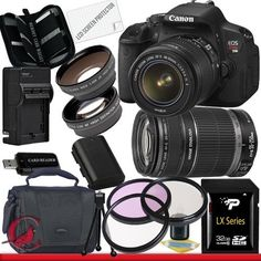 Canon EOS Rebel T4i Digital Camera with EF-S 18-55mm f/3.5-5.6 IS II & 55-250 IS II Lens Kit 32GB Package 3 by Canon. $1009.84. Package Contents:  1- Canon EOS Rebel T4i Digital Camera with EF-S 18-55mm f/3.5-5.6 IS II & 55-250 IS II Lens Kit with all supplied accessories 1- 32GB SDHC Class 10 Memory Card 1- Rapid External Ac/Dc Charger Kit   1- USB Memory Card Reader  1- Rechargeable Lithium Ion Replacement Battery  1- Weather Resistant Carrying Case w/Strap  1- Pack of LCD ...