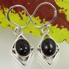 Real BLACK ONYX Gemstones 925 Sterling Silver Trendy Fashion Earrings Wholesale #SunriseJewellers #DropDangle