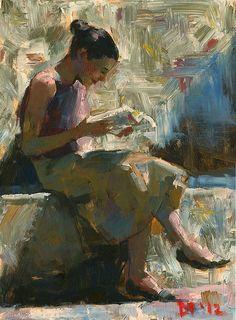 The reader Darren Thompson Reading Art, Woman Reading, Figure Painting, Figure Drawing, Illustrations, Illustration Art, Image Avatar, People Reading, Figurative Kunst