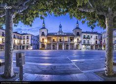 Plaza Mayor del Burgo de Osma (Soria, Spain) - stock photo