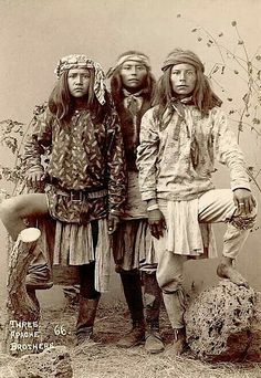 Three Apache Brothers. 1880s. Photo by A. Miller. Source - National Anthropological Archives.