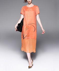 Love this Orange Floral Ruffle-Trim Midi Dress on #zulily! #zulilyfinds