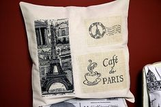 SHABBY CHIC CUSHION COVER - FRENCH PROVINCIAL RUSTIC HESSIAN PARIS MOTIFS $15 ebay Australia