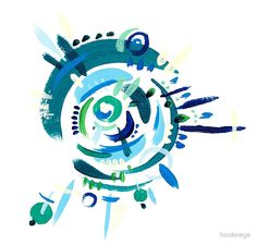 """""""Cyclone in Green and Blue 2"""" (2015) Greeting Cards & Postcards by hookneye 