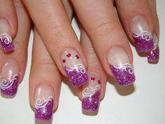 Nageldesign fotogalerie Glam Nails, Toe Nails, Purple Nails, Nailart, Color Patterns, Glitter, Pedicures, Hobby, Flower