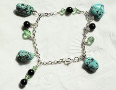 Magnesite Chain Bracelet Beaded Chain Bracelet Crystal by ScoSiCa, $18.25