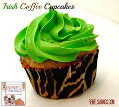Irish Coffee #Cupcakes #Recipe (via Rebel Savings) Coffee Cupcakes, Baking Cupcakes, Cupcake Recipes, Cookie Recipes, Dessert Recipes, Cupcake Ideas, Cupcake Bakery, Cupcake Cookies, Irish Recipes