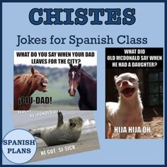 This powerpoint includes 33 images of Spanish jokes for your Spanish class. Great puns that your students will love.