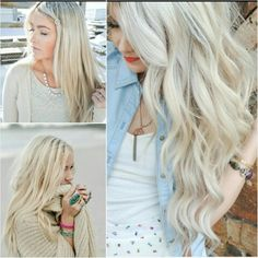 Ice blonde. Perfect for blue eyes and fair skin!