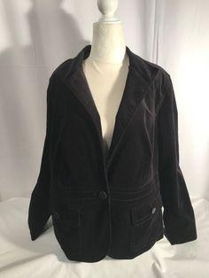 e14fe7c9fc96ec Talbots Petites Women's Jacket Cotton Lycra 1 Button Blazer Velvet Lined Sz  16W