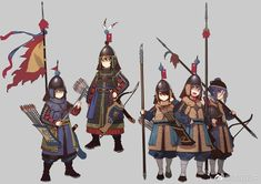 Cute anime girls dressed in several varieties of accurately-drawn Ming brigandines, wielding dao, bladed quarterstaff, hook spear, and a pike. Illustrated by 防弾乳牛. Anime Military, Military Art, Korean Military, Fantasy Inspiration, Character Inspiration, Sketchbook Inspiration, Fantasy Character Design, Character Art, Personal Armor