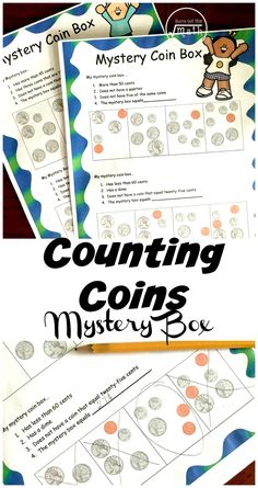 These counting coin worksheets have a fun twist. Children have to use clues to figure out which box is the mystery box. These clues include coin recognition and counting money. Money Activities, Math Activities For Kids, First Grade Activities, Counting Activities, Math Resources, Counting Coins, Counting Money, Money Worksheets, Homeschool Math