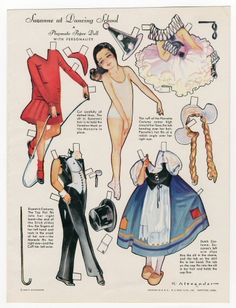 Playmate Paper Dolls with Personality-Bebe at Beac H; Anita in Alps; Suzanne at Dancing School  paper doll  1932