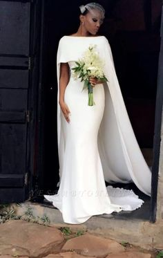 Simple Country Mermaid Wedding Dresses with Long Sweep Wraps Bateau Neck Formal . Simple Country Mermaid Wedding Dresses with Long Sweep Wraps Bateau Neck Formal Party Gowns for Bride High Street Wedding Dresses, Dresses To Wear To A Wedding, Classic Wedding Dress, Bridal Dresses, Wedding Gowns, Party Gowns, Wedding Dress Cape, Plain Wedding Dress, Lace Wedding