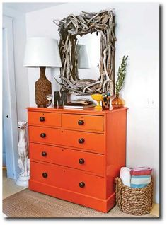 brightly painted furniture | orange-dresser-seen-at-josh-and-ashleys-world-blog
