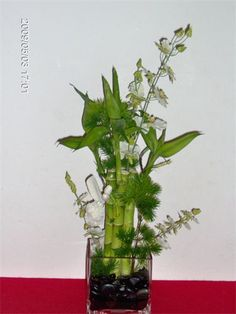 Fresh Bamboo Contemporary Wedding Centerpiece : Beautiful wedding centerpiece can be made all fresh or fresh with silk with the effect of natural flowers.