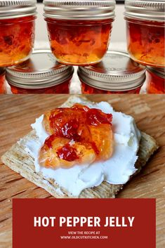 Easy hot pepper jelly sweet red peppers hot chili peppers home canning, gifts of food Jam Recipes, Canning Recipes, Appetizer Recipes, Appetizers, Hot Sauce Recipe For Canning, Canning Tips, Cooker Recipes, Pepper Jelly Recipes, Red Pepper Jelly Recipe Certo