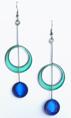 Stainless steel jewelry in light teal and cobalt - handmade jewelry