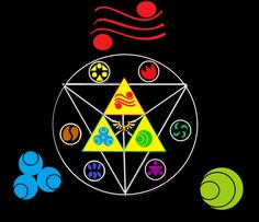 The Triforce with the three goddesses symbols (Din, Nayru, and Farore) and the six medallions. TLoZ Triforce by Alasmay on DeviantArt