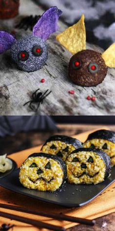 Fun Halloween Recipes. Perfect recipes for a Halloween Party. Spooktacular!!! Pumpkin Sushi and Cheese Bats. They take no more than 30 minutes to make!