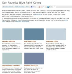 Favorite, popular, & best selling shades of blue paint colors from Benjamin Moore.