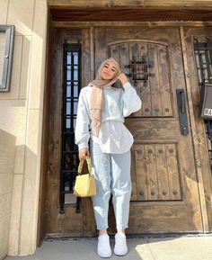 Modesty Fashion, Muslim Fashion, Hijab Fashion Inspiration, Teen Fashion Outfits, Indie Outfits, Mode Hijab, Blue Aesthetic, Baby Blue, Goals
