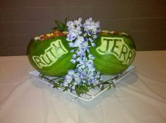 Carved watermelon bowls with fruit salad for my sweet friends, Jerry and Ruth's wedding!
