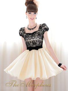 Beige Black Lace Cap Sleeve Plated Hemline Bow Dress