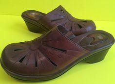 Brown Solid Dr. Scholls Massaging Gel Clog Wedges size 9.5 M #DrScholls #Clogs #Casual