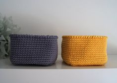 Set of 2 Square Basket in Yellow and Dark Gray - DIY these for the mudroom
