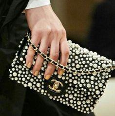 Chanel pearled flap bag