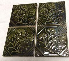 4 Minton Victorian Art Nouveau Green Thistle Flowers Tiles  # 34-37
