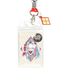 Hot Topic DC Comics Suicide Squad Harley Quinn Lanyard ($6.23) ❤ liked on Polyvore featuring costumes, multi, harley quinn halloween costume, joker halloween costume, white halloween costumes, white costume and joker costume