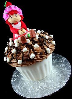Classic Strawberry Shortcake on giant cupcake