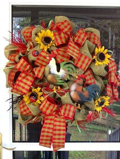 Burlap Rooster Wreath by WreathsEtc on Etsy, $95.00