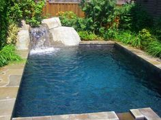 water features and yard landscaping around pools