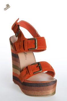 Olivia 3-Orange Suede Wedge (10) - De blossom collection pumps for women (*Amazon Partner-Link)