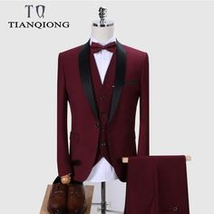Buy it before it ends. There is always many products on sae upto - Brand Men Suit 2019 Wedding Suits for Men Shawl Collar 3 Pieces Slim Fit Burgundy Suit Mens Royal Blue Tuxedo Jacket - eTrendings Terno Casual, Casual Suit, Slim Fit Jackets, Slim Fit Pants, New Mens Fashion, Suit Fashion, Fashion Black, Dress Suits For Men, Mens Suits