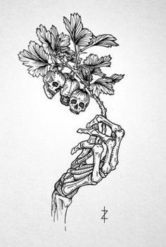 Skeleton Drawings, Skeleton Tattoos, Hand Tattoos, Flower Tattoo Hand, Art Drawings Sketches, Tattoo Sketches, Tattoo Drawings, Floral Tattoo Design, Floral Skull Tattoos