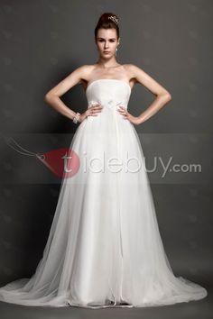 帝国ストラップレス床長さのコートトレインウェディングドレス