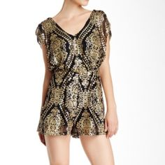 Nwt Want and Need Nordstroms metallic print romper No trades please no flaws new bust is 24 length 34 waist 19 the outfit stretches Want and Need Other
