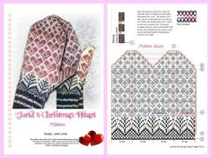 Maybe using this pattern/ hearts on a hat in Nøstebarn would be cool? Knitted Mittens Pattern, Fair Isle Knitting Patterns, Crochet Socks, Knit Mittens, Knitting Charts, Knitted Gloves, Knitting Socks, Knitting Stitches, Hand Knitting