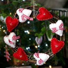 Natural Christmas Wreath with Felt Hearts £12.50.