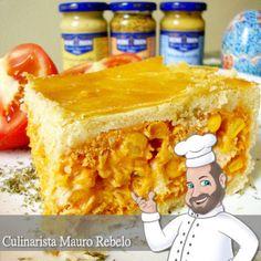 Empada ou Empadão do Culinarista Mauro Rebelo. O recheio de frango e de camarão com palmito. - Mauro Rebelo