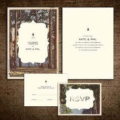 Rustic vintage postcard invitation suite